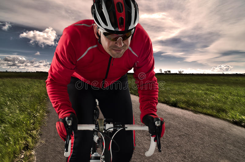 Cyclist on the road stock photo