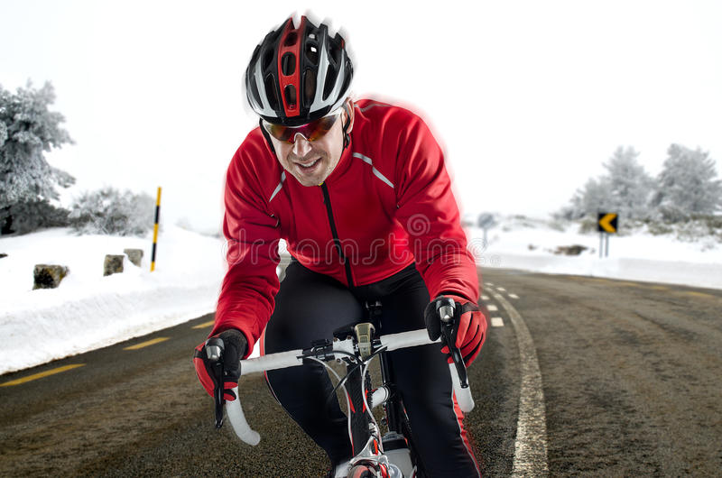 Cyclist on the road royalty free stock photo