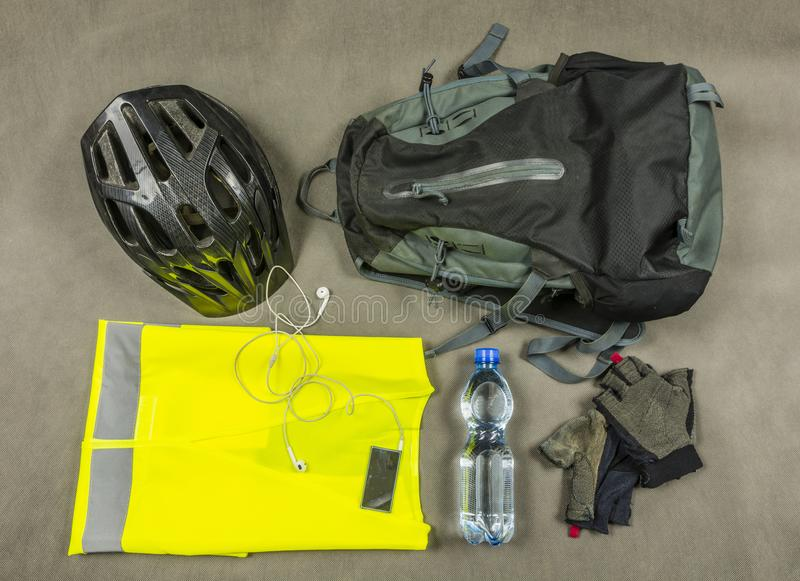 Biker`s attributes for a trip outside the city. royalty free stock photos