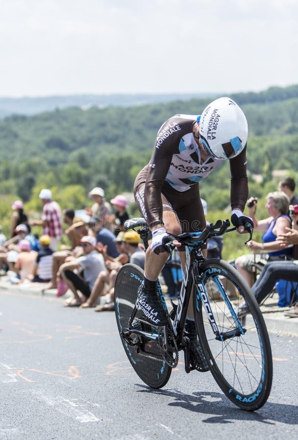The Cyclist Samuel Dumoulin - Tour de France 2014 royalty free stock images