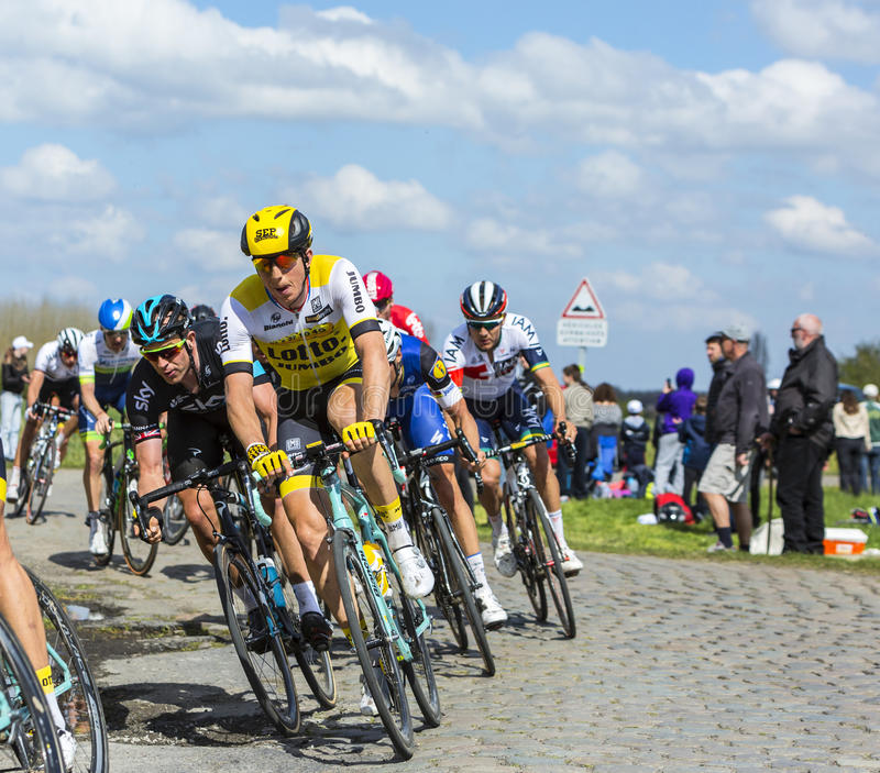 The Cyclist Sep Vanmarcke - Paris Roubaix 2016. Hornaing ,France - April 10,2016: The Belgian cyclist Sep Vanmarcke of Lotto NL-Jumbo Team riding in the peloton stock photography