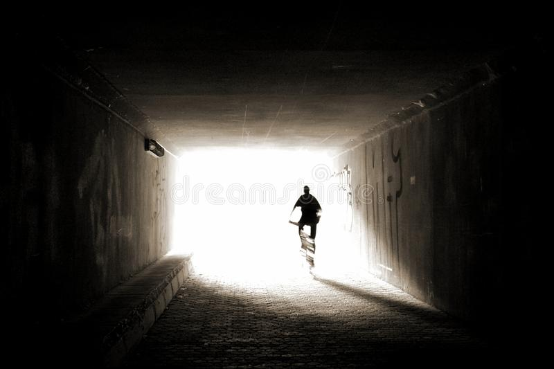 Cyclist silhouette stock image