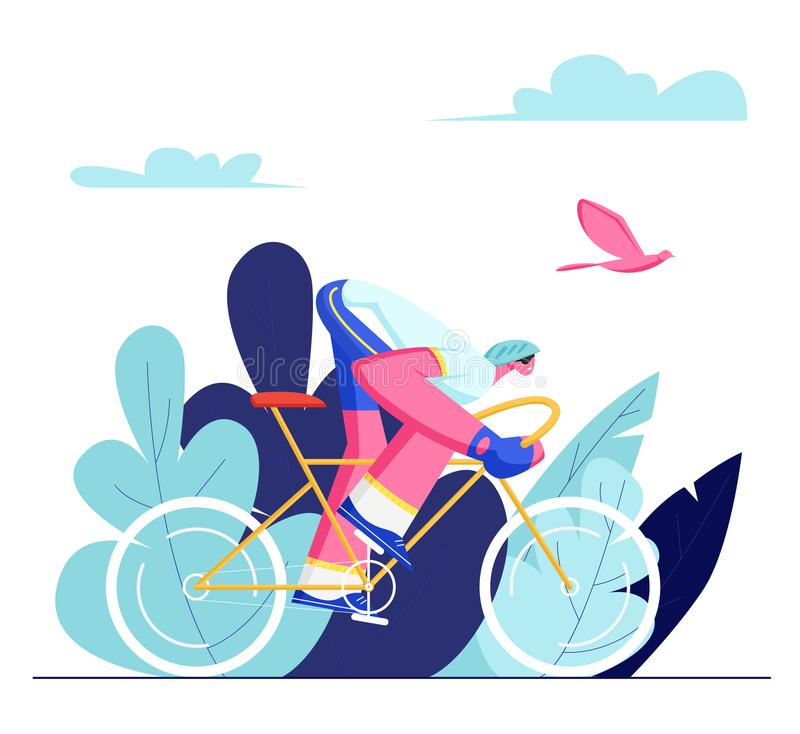 Cyclist Sportsman in Sports Wear and Helmet Riding Bike Outdoors in Summer Day. Bicycle Man Active Sport Life and Healthy Life. Style, Bike Rider in Race vector illustration