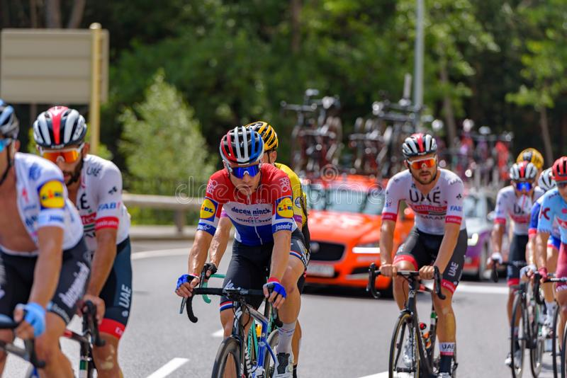 Cyclist during stage 10  of La Vuelta 2019 in Canillo, Andorra. Canillo, Andorra - September 1, 2019: Cyclist during stage 10  of La Vuelta 2019 in Canillo stock image