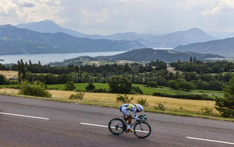 Download The Cyclist Thomas De Gendt Editorial Stock Image - Image of  ecrins, lake: