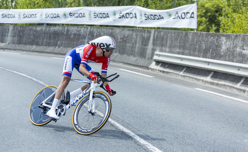 The Cyclist Tom Dumoulin - Tour de France 2014 stock photography