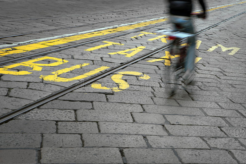Cyclist and tram track royalty free stock images