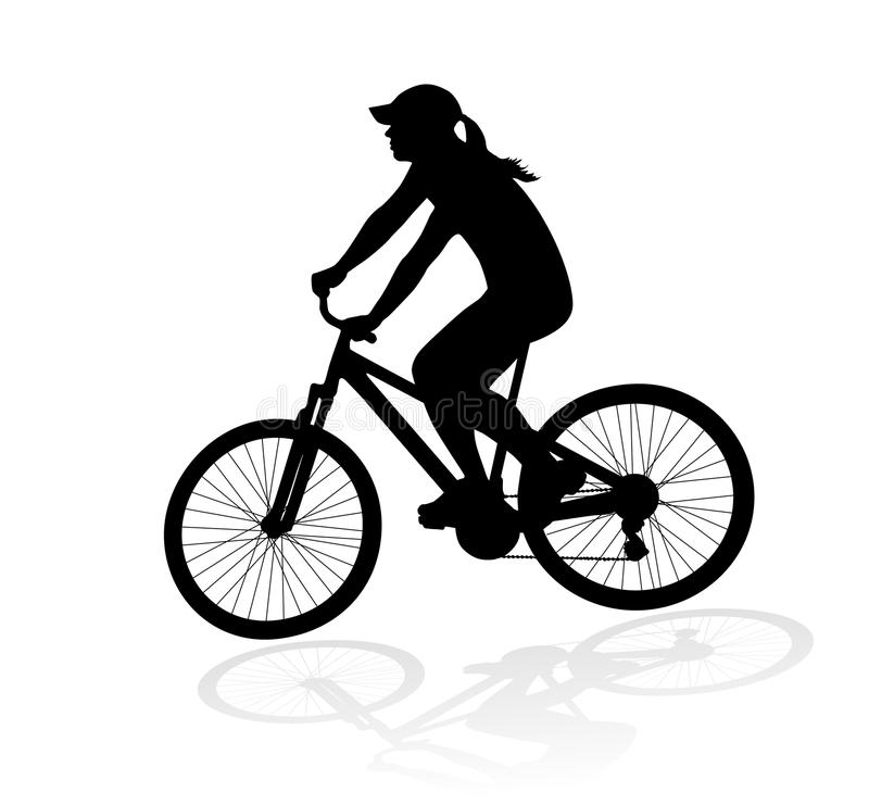 Cyclist woman silhouette vector illustration