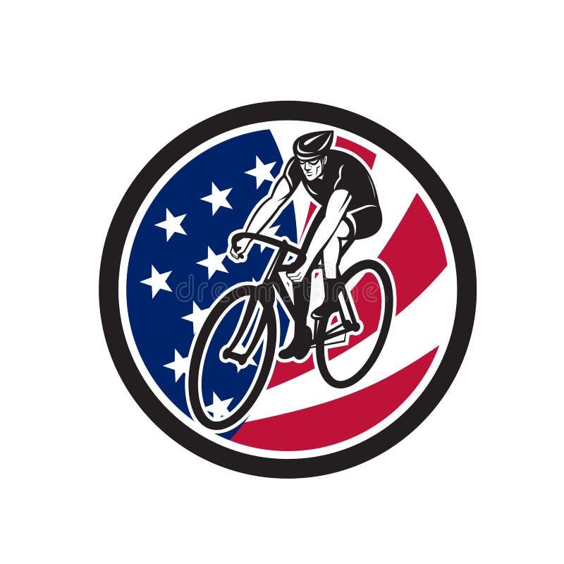 Cycliste américain faisant un cycle l'icône de drapeau des Etats-Unis illustration de vecteur