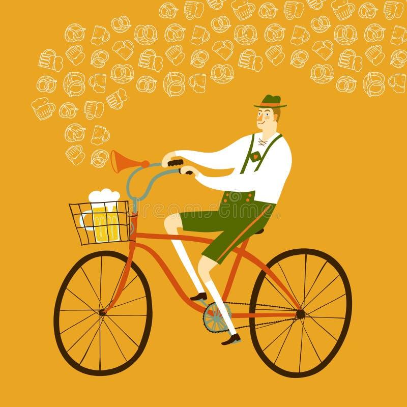 Cycliste bavarois d'homme de bande dessinée avec de la bière et le bretzel illustration de vecteur