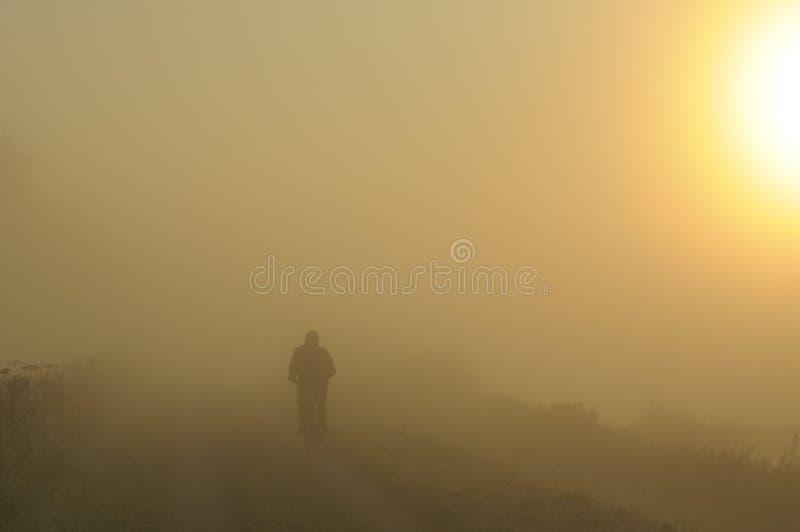 Cycliste dans le brouillard photographie stock