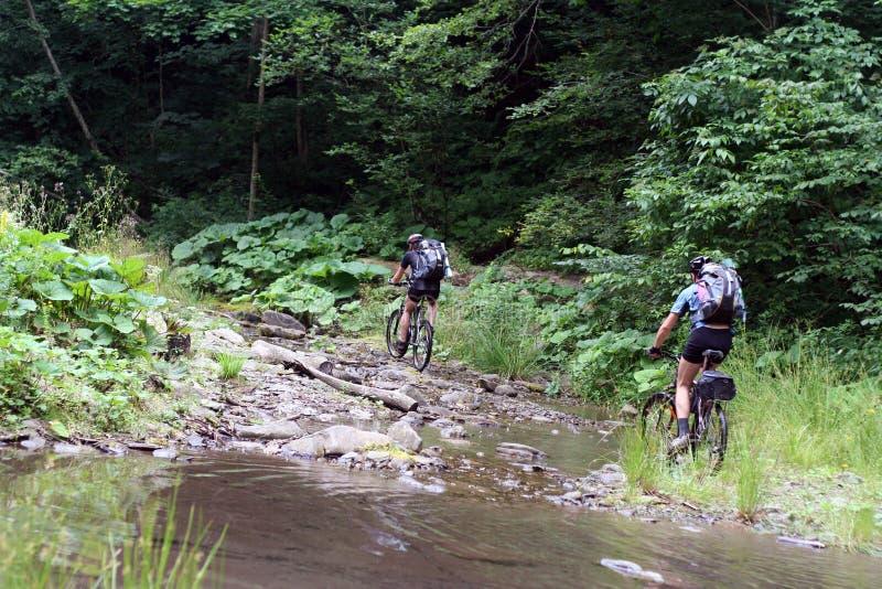 cycliste dans les montagnes photographie stock libre de droits