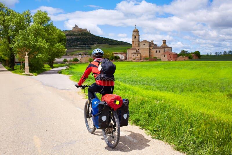 Cycliste de Castrojeriz sur le chemin de St James photos libres de droits