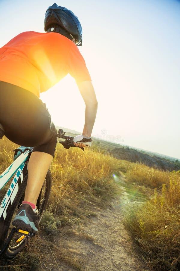Cycliste de femme avec l'éclat du coucher de soleil images stock