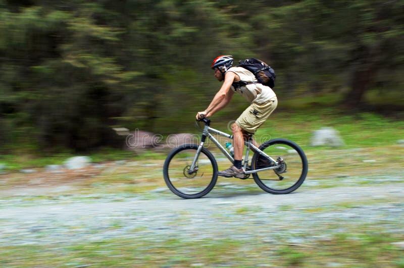Cycliste de montagne de mouvement de vitesse photos stock