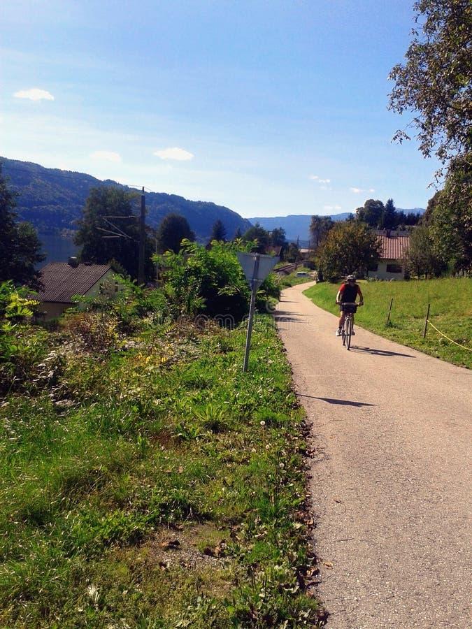 Cycliste de vélo de montagne photo stock