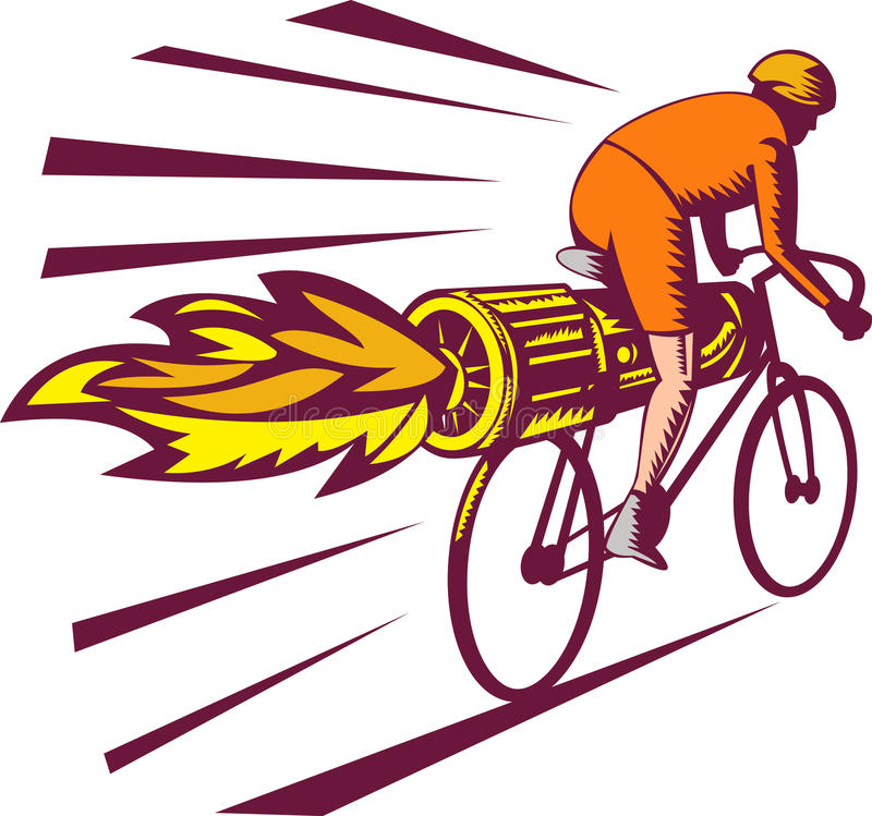 Cycliste emballant la bicyclette de réacteur illustration de vecteur