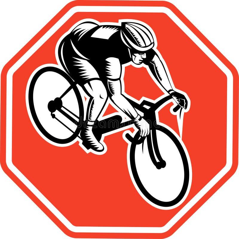 Cycliste emballant le vélo illustration libre de droits