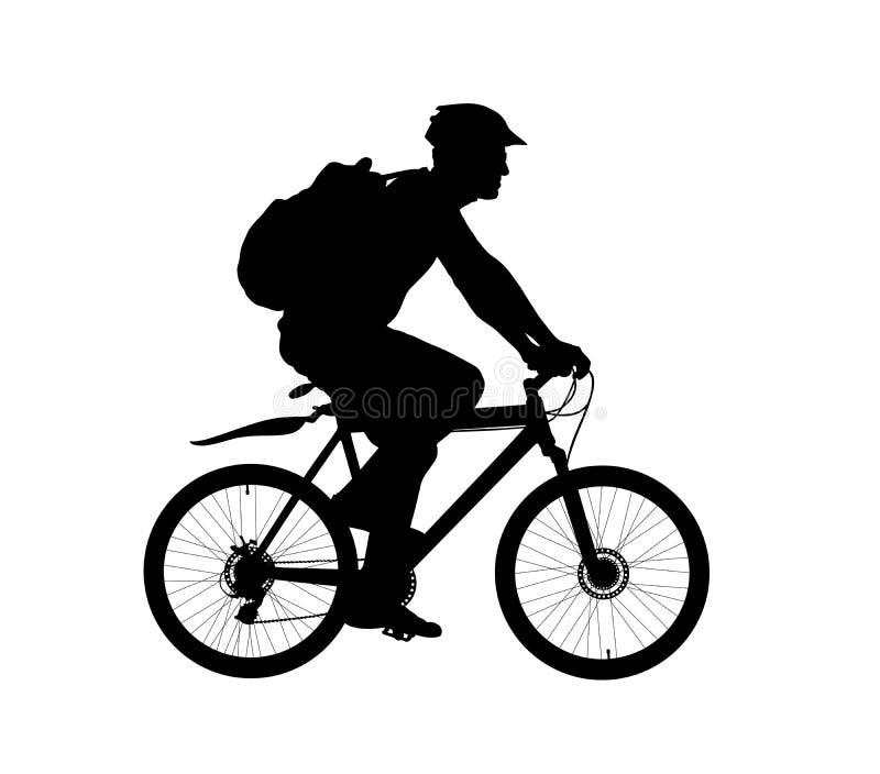 Cycliste masculin montant une silhouette de vecteur de bicyclette d'isolement sur le fond blanc Sportif dans l'illustration de co illustration de vecteur
