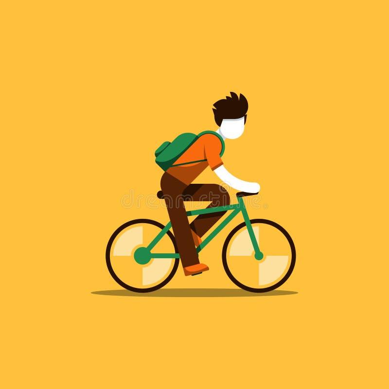 Cycliste montant à l'école ou au travail illustration de vecteur