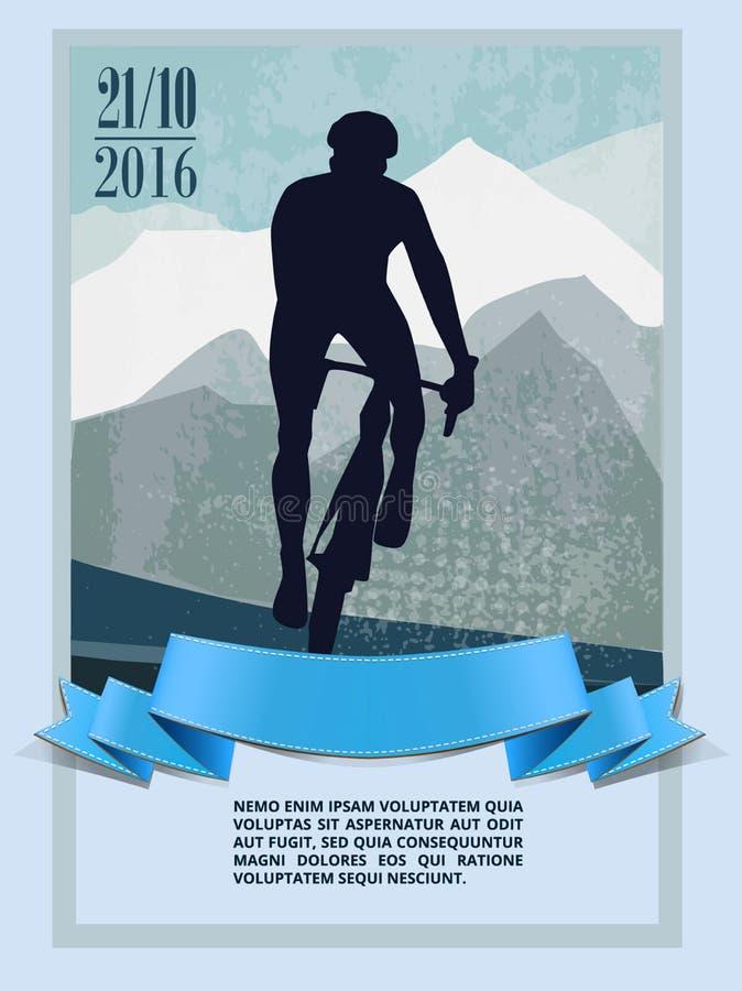 Cycliste, sport, paysage illustration de vecteur