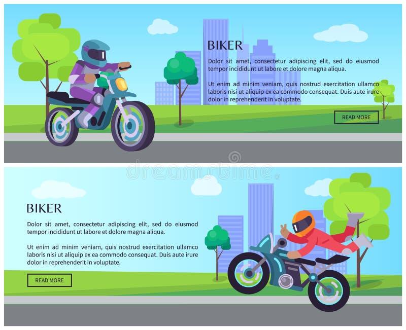 Cycliste sur l'équitation de motocyclette de rue sur le paysage urbain de route illustration de vecteur