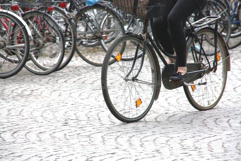 Cycliste sur le mouvement images libres de droits