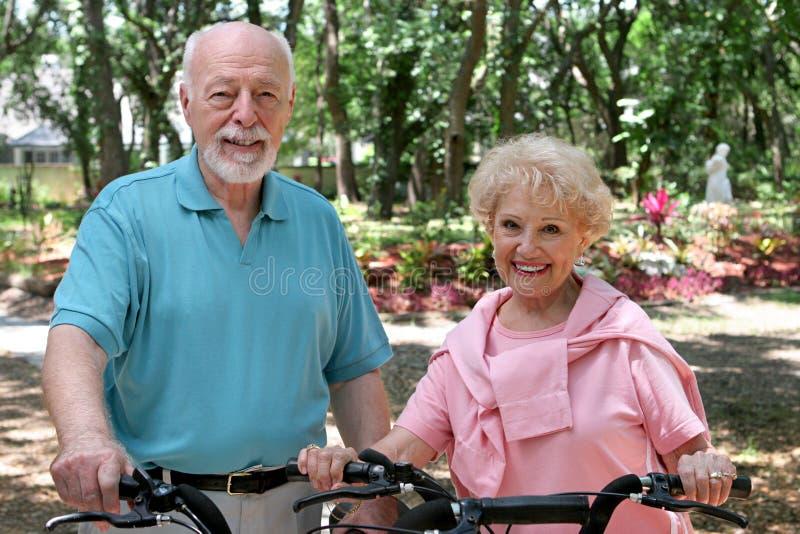 Cyclistes aînés actifs photographie stock libre de droits