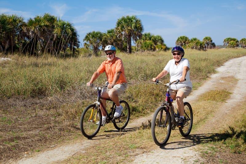 Cyclistes aînés sûrs photo libre de droits