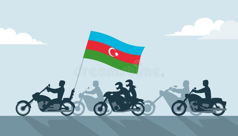 Cyclistes avec le drapeau de l'Azerbaïdjan illustration libre de droits