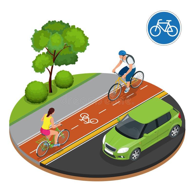 Cyclistes dans la ville Recyclage sur le chemin de vélo Cavaliers de panneau routier et de vélo de bicyclette Illustration isomét illustration stock