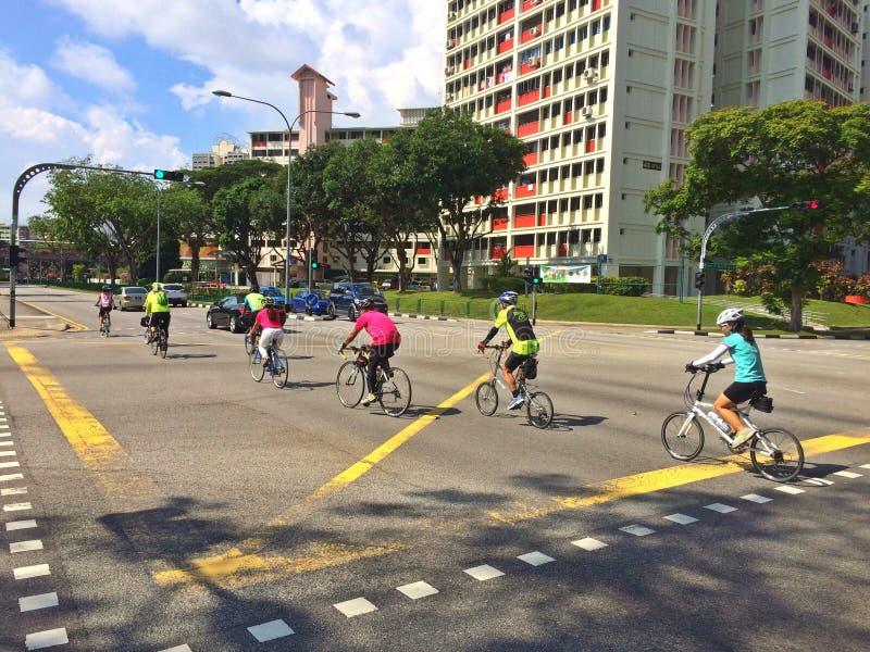 Cyclistes de route - Singapour photo stock