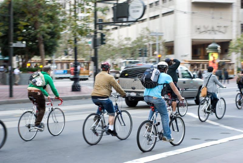 Cyclistes de ville à San Francisco photo stock