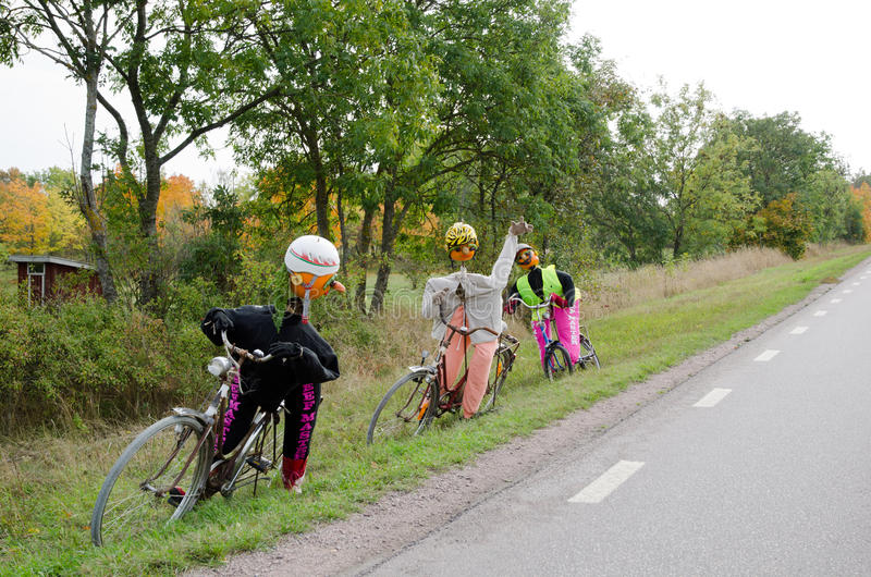 Cyclistes faits de potirons images libres de droits