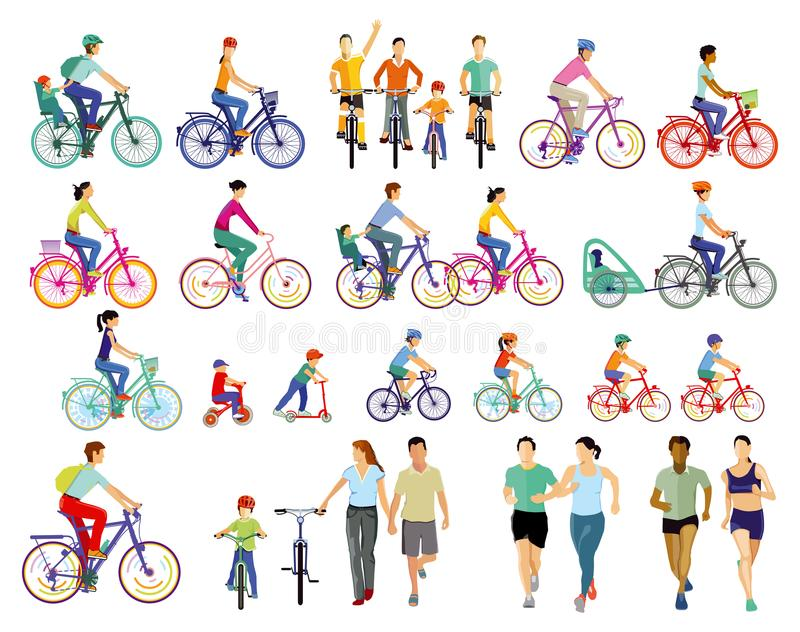 Cyclists and athletes stock illustration