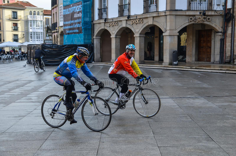 Cyclists in Aviles stock images