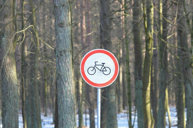 Cyclists cannot ride in the forest. sign prohibiting cycling.  royalty free stock photography