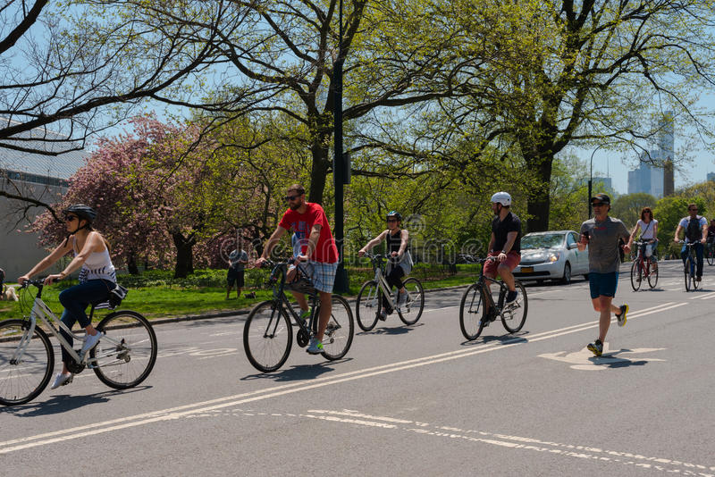 Cyclists in Central Park stock images