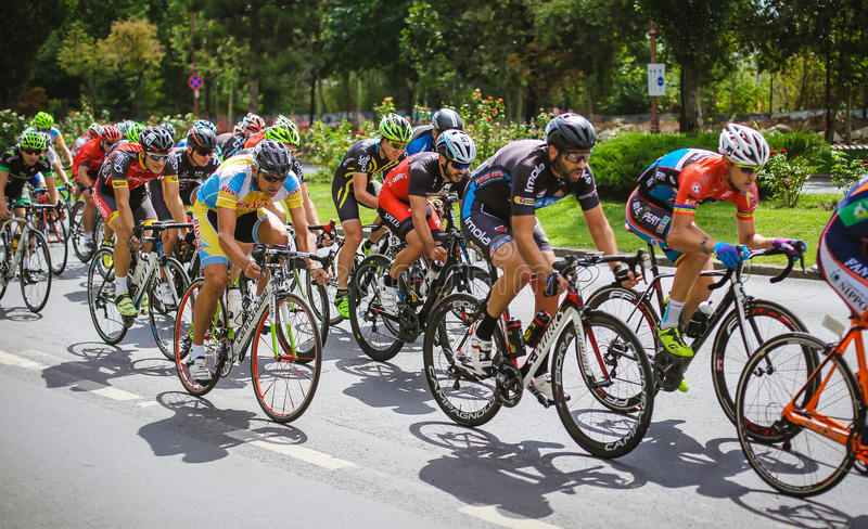 Cyclists competing. In RGT Road Grand Tour Champions Race, Bucharest, Romania stock photo