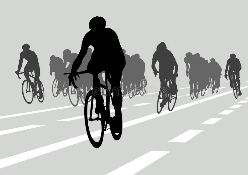 Cyclists in competition royalty free illustration