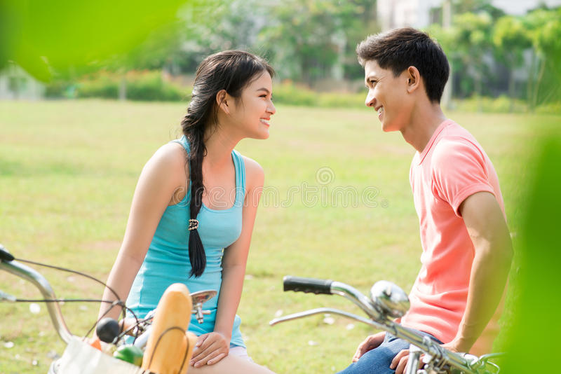 Download Cyclists on date stock photo. Image of casual, emotion - 28361210