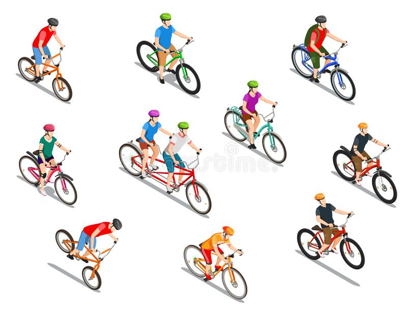 Cyclists Isometric Icons Set vector illustration