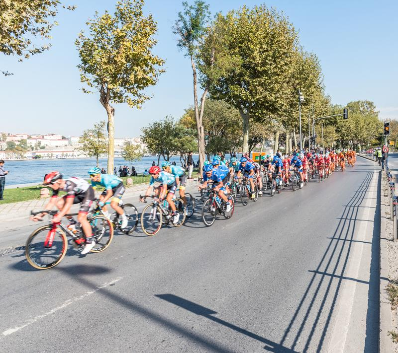 Cyclists racing in Istanbul Stage of 53rd Presidential Cycling Tour of Turkey stock photography