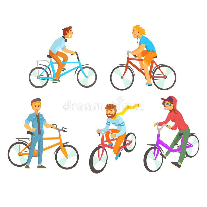 Cyclists riding bike set for label design. Lifestyle, sport, cycling, riding, relax. Colorful cartoon detailed stock illustration