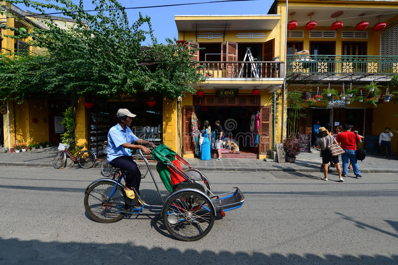 Cyclo in Hoian ancient town royalty free stock photo