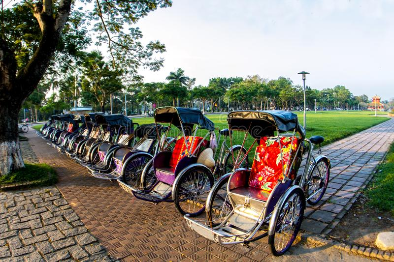Cyclo & x28;pedicab& x29; Beautiful Color in Hue Province. Vietnam stock photography