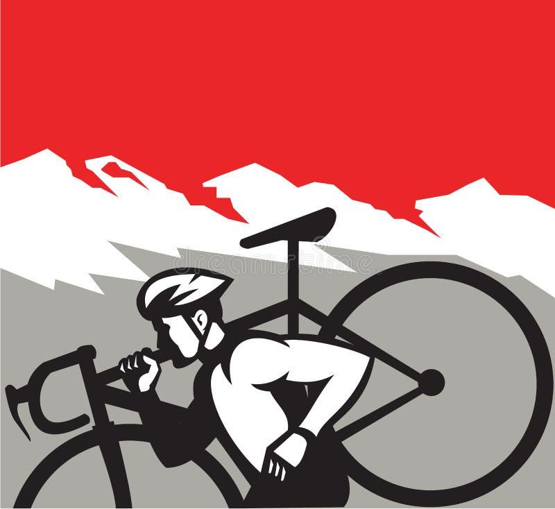 Cyclocross Athlete Running Carrying Bike Alps Retro vector illustration