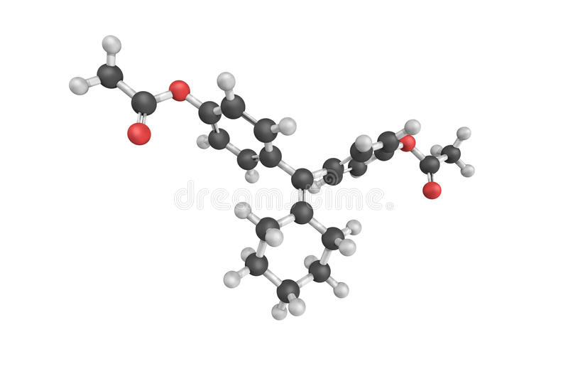 Cyclofenil, (SERM)使用的一个有选择性的女性荷尔蒙感受器官调制器 库存照片