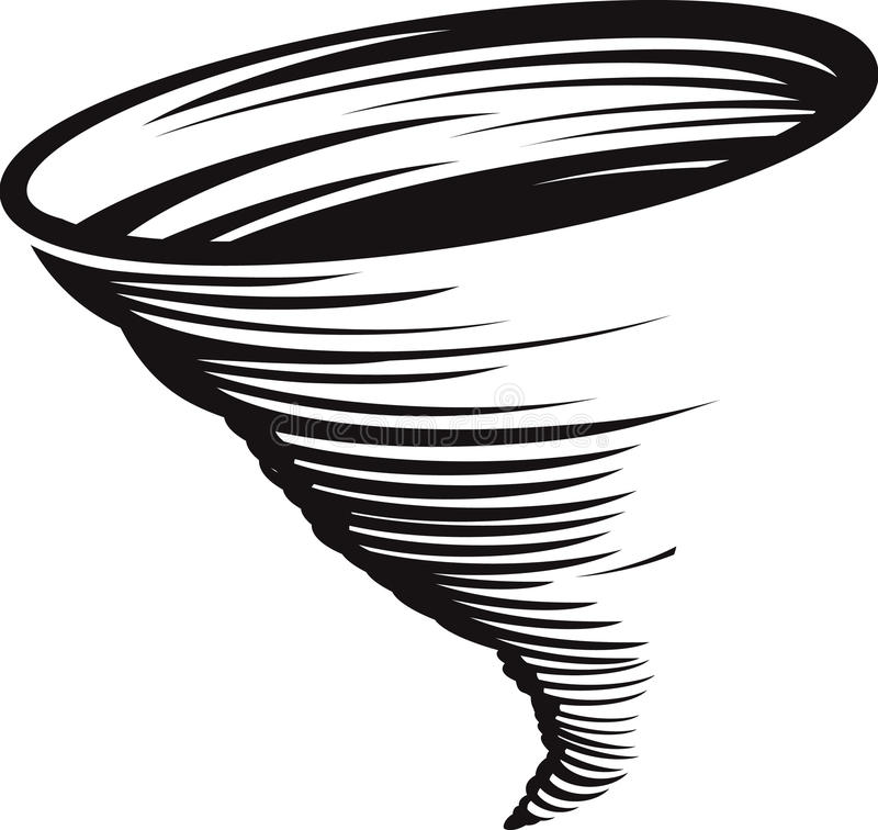 Cyclone. A stylized black and white whirlwind or tornado