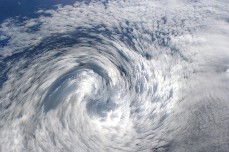 Cyclone clouds, eye of storm. stock photo